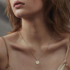 NEW! 3/$30 Dainty Gold Textured Disc Necklace